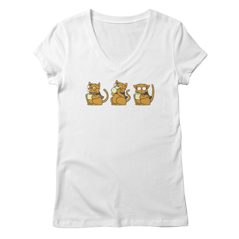 Cat, Coffee and Glasses Women's V-Neck by AlePresser's Artist Shop