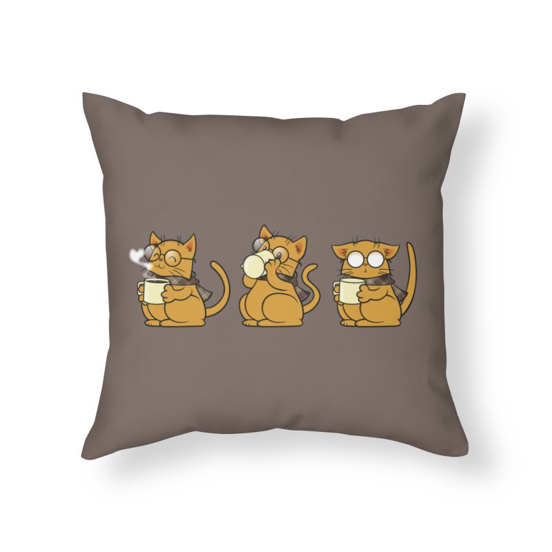 Cat, Coffee and Glasses Home Throw Pillow by AlePresser's Artist Shop