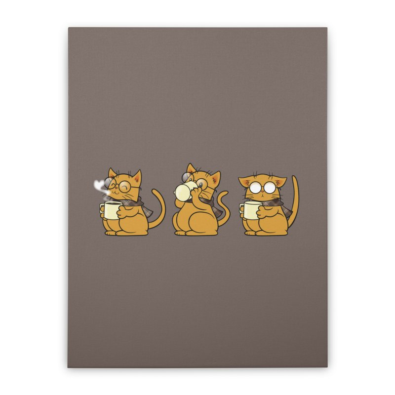 Cat, Coffee and Glasses Home Stretched Canvas by AlePresser's Artist Shop