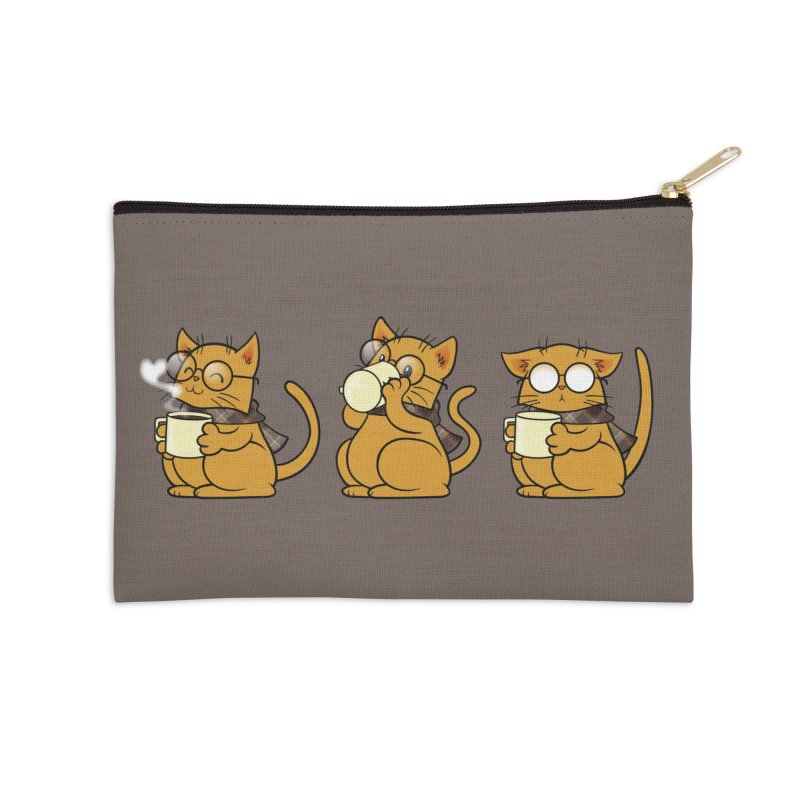 Cat, Coffee and Glasses Accessories Zip Pouch by AlePresser's Artist Shop