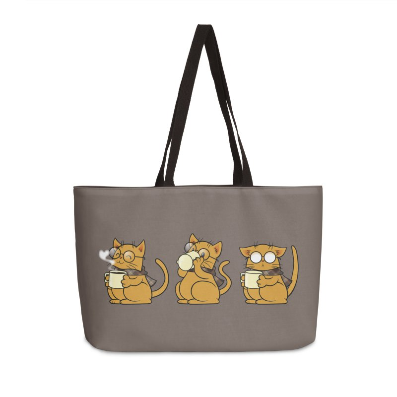 Cat, Coffee and Glasses Accessories Weekender Bag Bag by AlePresser's Artist Shop