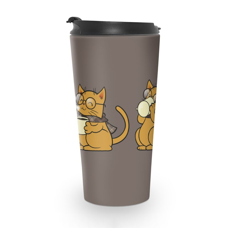 Cat, Coffee and Glasses Accessories Travel Mug by AlePresser's Artist Shop