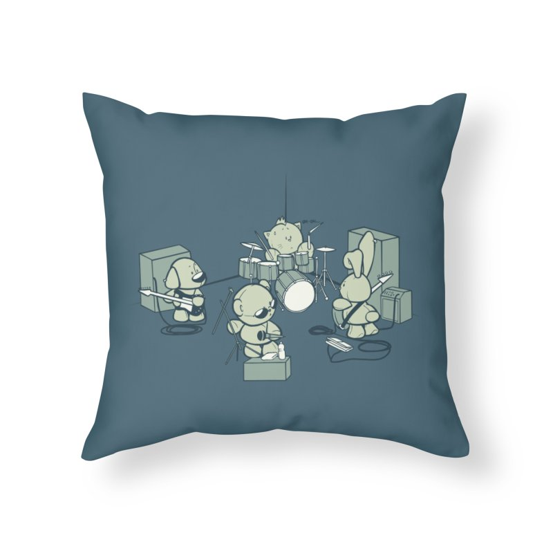 Teddy Band Home Throw Pillow by AlePresser's Artist Shop