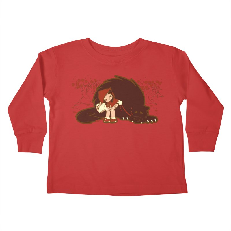 Bossy Red Riding Hood Kids Toddler Longsleeve T-Shirt by AlePresser's Artist Shop