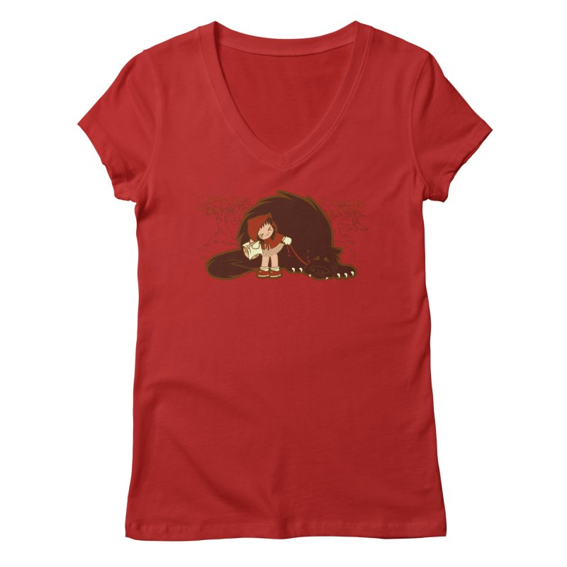 Bossy Red Riding Hood Women's V-Neck by AlePresser's Artist Shop