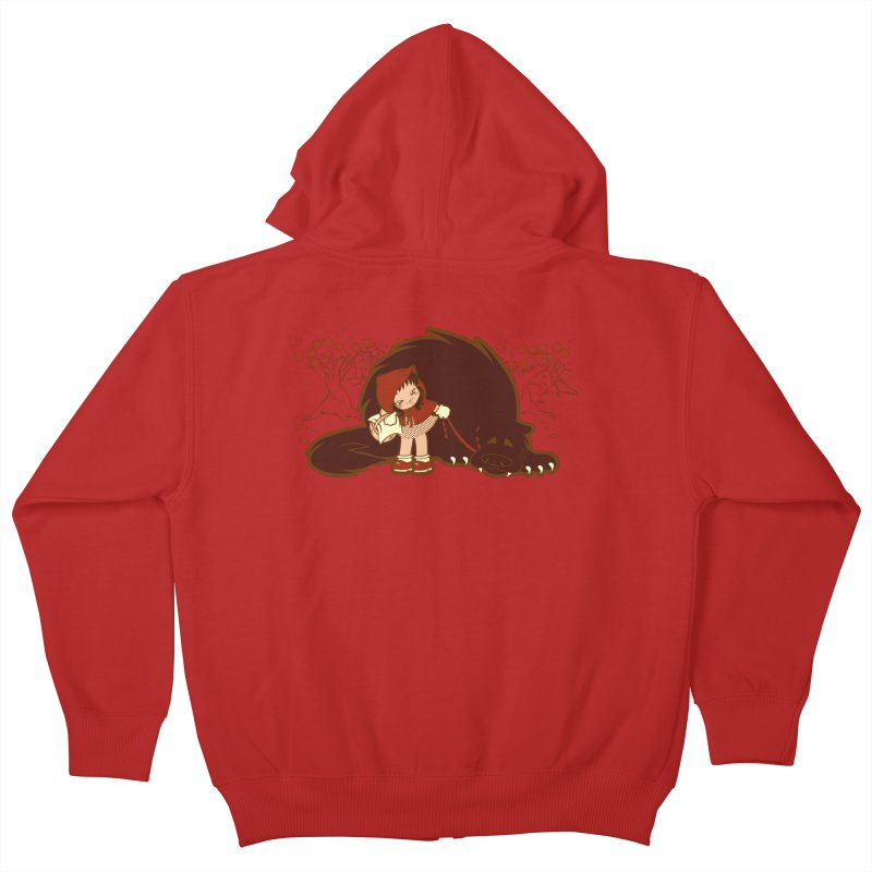 Bossy Red Riding Hood Kids Zip-Up Hoody by AlePresser's Artist Shop