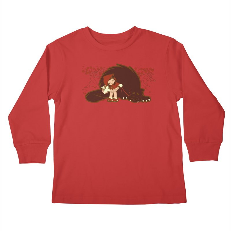 Bossy Red Riding Hood Kids Longsleeve T-Shirt by AlePresser's Artist Shop