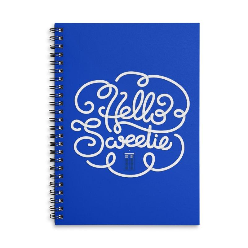 Hello Sweetie Accessories Lined Spiral Notebook by AlePresser's Artist Shop