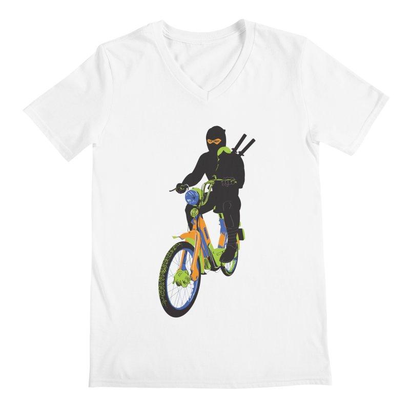 The Moped Ninja Men's V-Neck by Alex Austin Design Shop