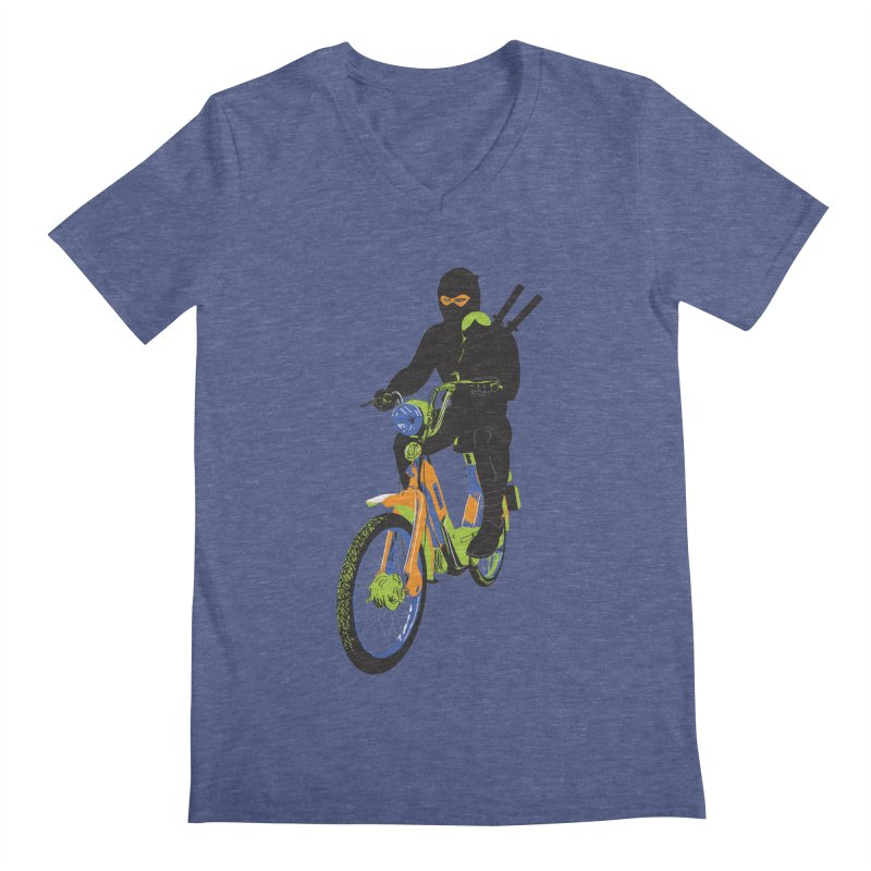 moped ninja Men's Regular V-Neck by alexaustindesign's Artist Shop