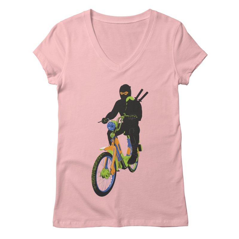 moped ninja Women's Regular V-Neck by alexaustindesign's Artist Shop