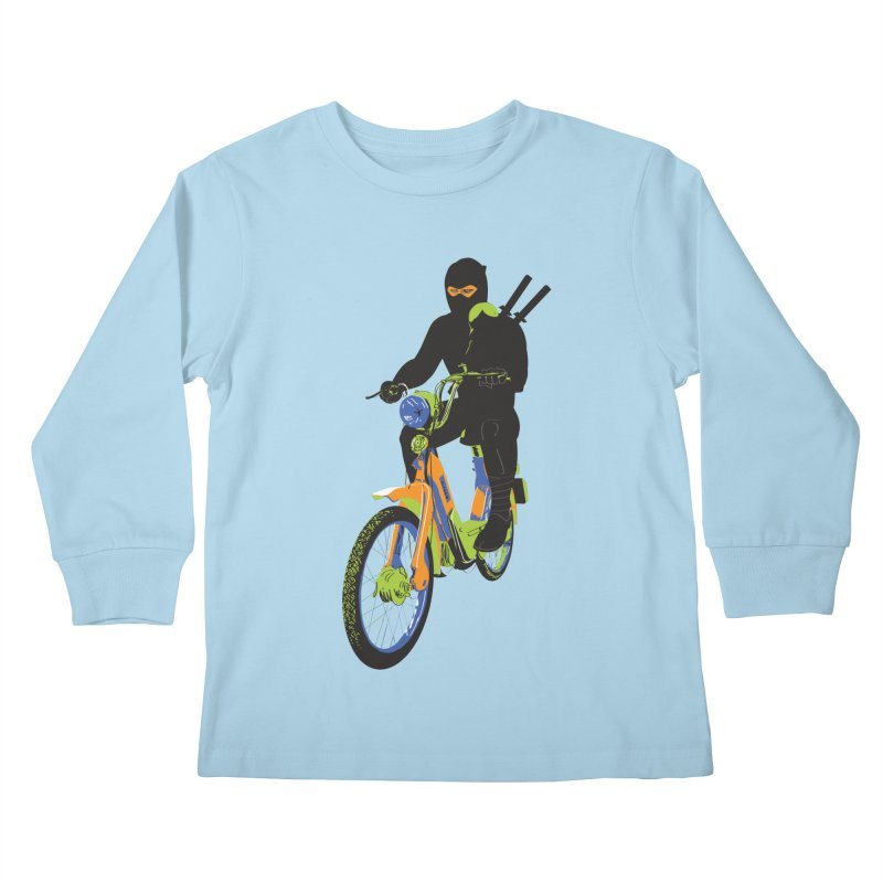 moped ninja Kids Longsleeve T-Shirt by alexaustindesign's Artist Shop