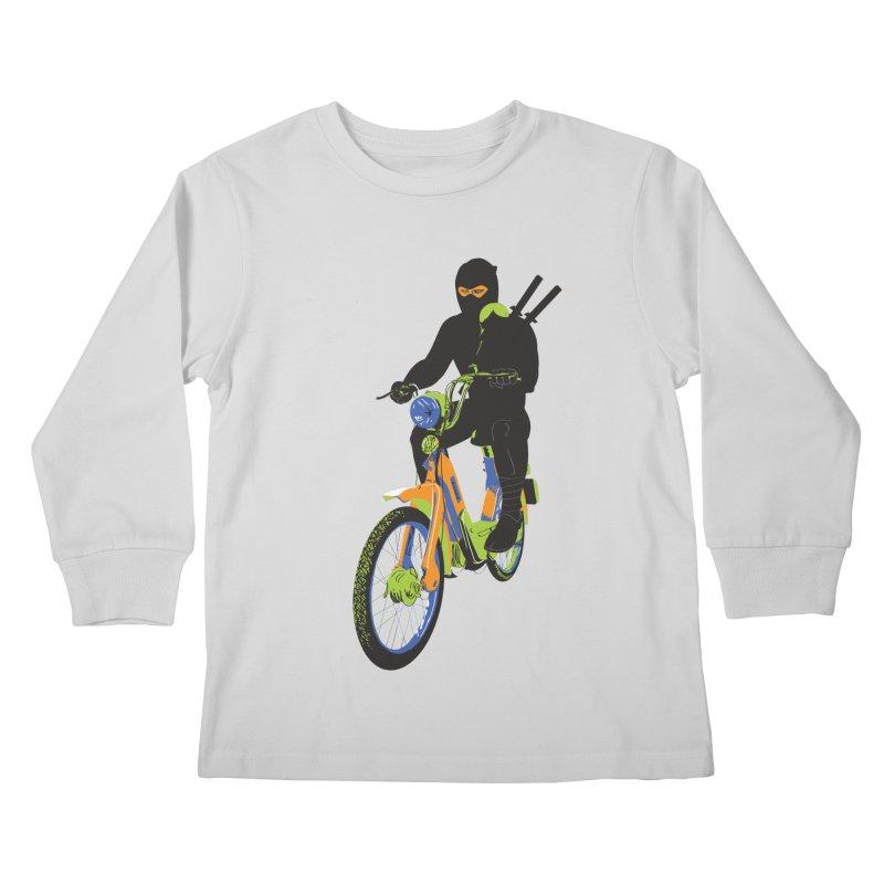 moped ninja Kids Longsleeve T-Shirt by alexaustindesign's Artist Shop