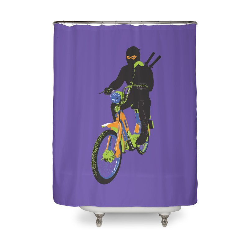 moped ninja Home Shower Curtain by alexaustindesign's Artist Shop