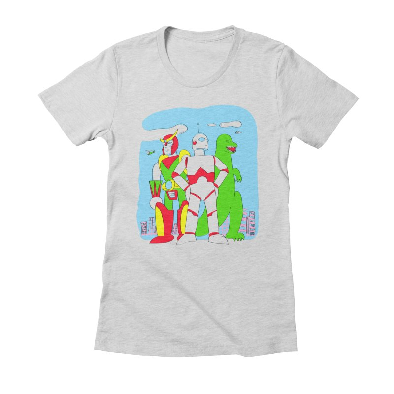robots and monsters Women's Fitted T-Shirt by alexaustindesign's Artist Shop