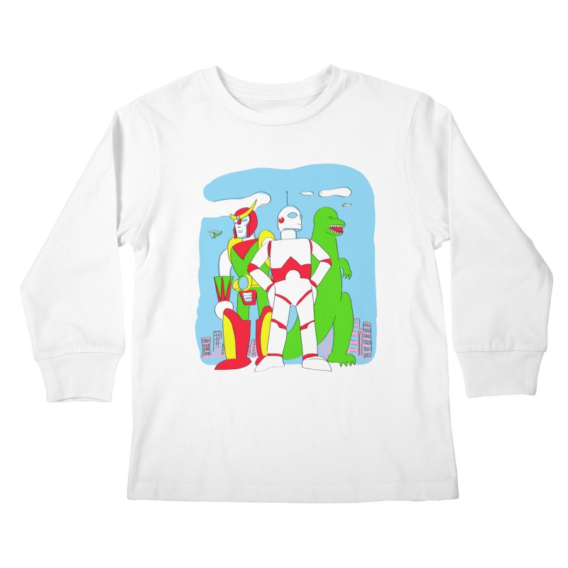 robots and monsters Kids Longsleeve T-Shirt by alexaustindesign's Artist Shop