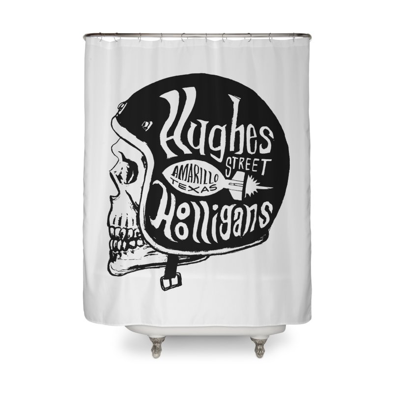 Hughes Street Hooligans – Black / Gray Home Shower Curtain by alexaustindesign's Artist Shop