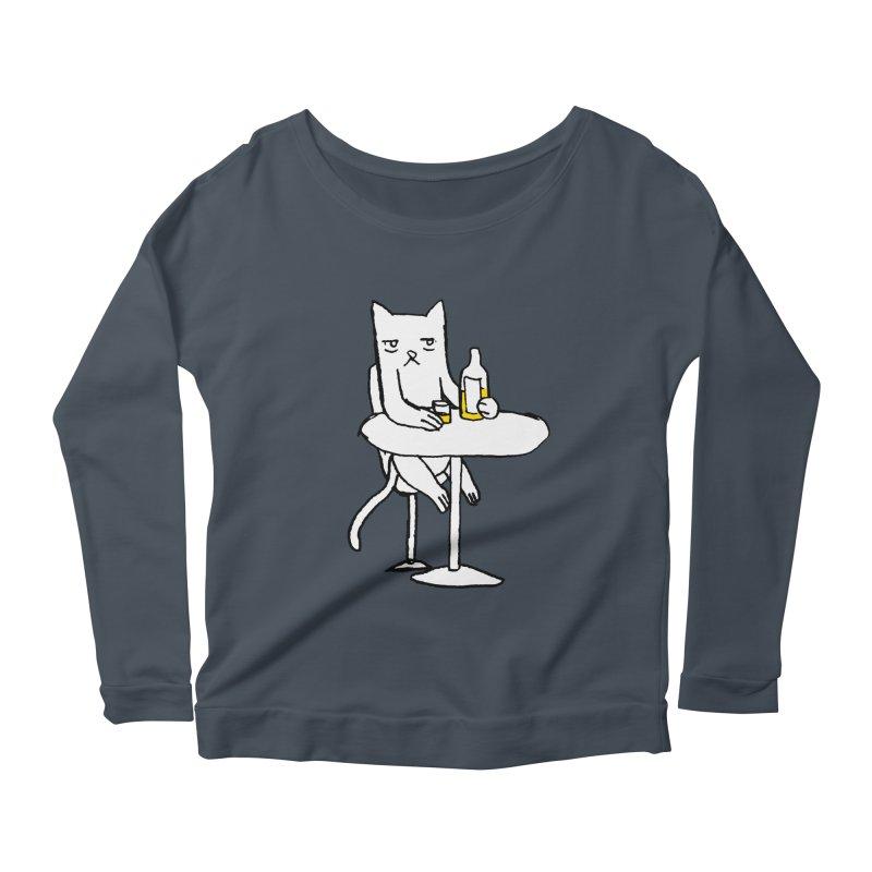 Drunk cat Women's Longsleeve Scoopneck  by alexcortez's Artist Shop