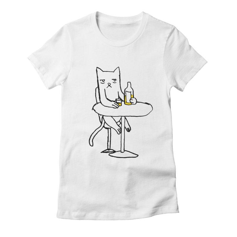 Drunk cat Women's Fitted T-Shirt by alexcortez's Artist Shop