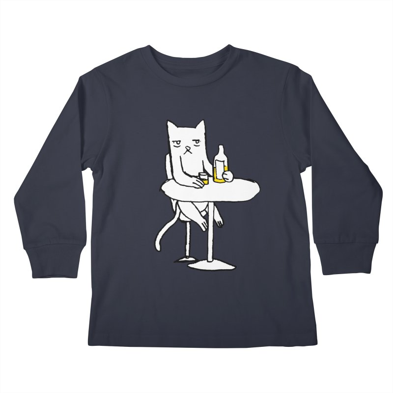 Drunk cat Kids Longsleeve T-Shirt by alexcortez's Artist Shop