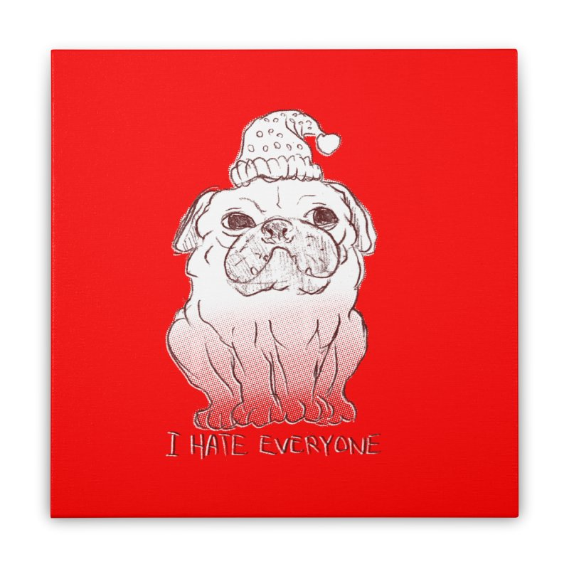 Happy Pug Home Stretched Canvas by alexcortez's Artist Shop