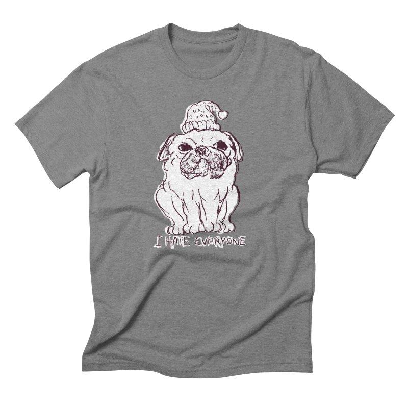 Happy Pug Men's Triblend T-shirt by alexcortez's Artist Shop