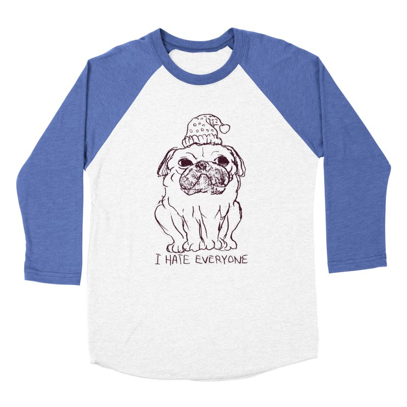 Happy Pug Women's Baseball Triblend T-Shirt by alexcortez's Artist Shop
