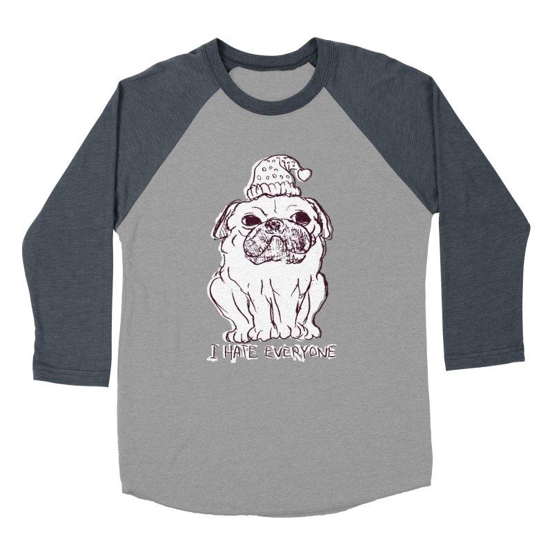 Happy Pug Women's Baseball Triblend T-Shirt by alexcortez's Artist Shop