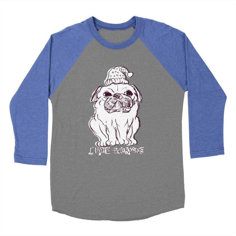 Happy Pug Men's Baseball Triblend T-Shirt by alexcortez's Artist Shop