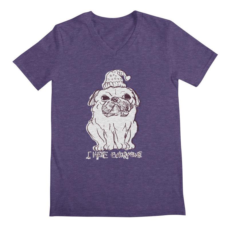 Happy Pug Men's V-Neck by alexcortez's Artist Shop