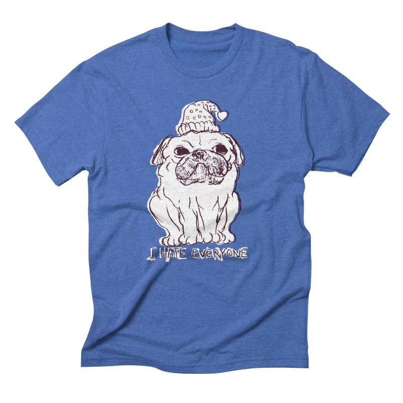 Happy Pug Men's Triblend T-shirt by alexcortez's Artist Shop