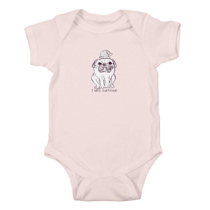 Happy Pug Kids Baby Bodysuit by alexcortez's Artist Shop