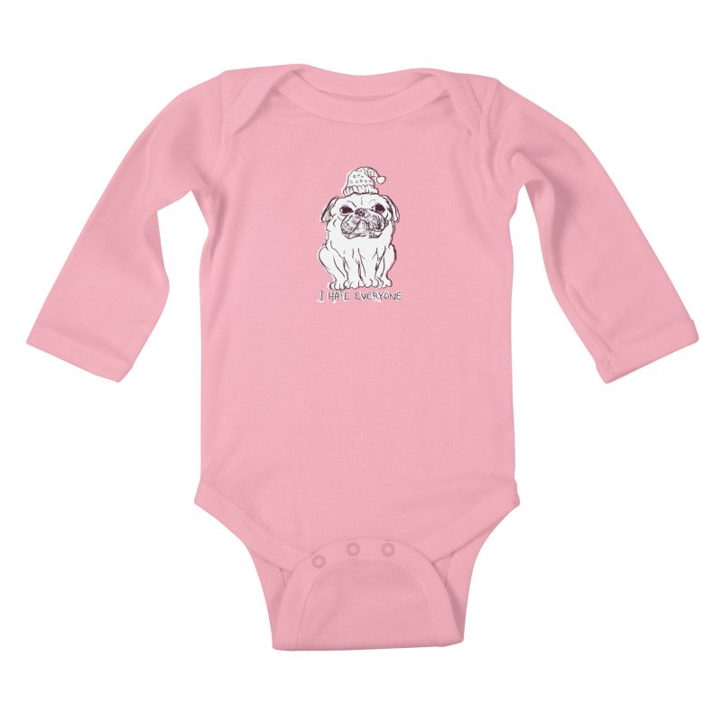 Happy Pug Kids Baby Longsleeve Bodysuit by alexcortez's Artist Shop
