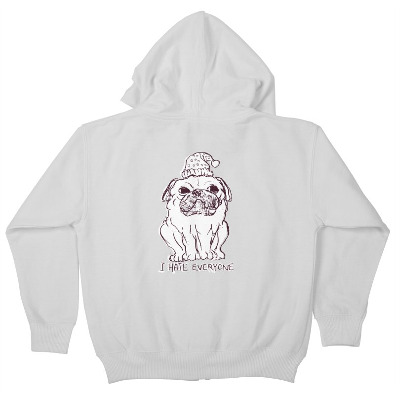 Happy Pug Kids Zip-Up Hoody by alexcortez's Artist Shop