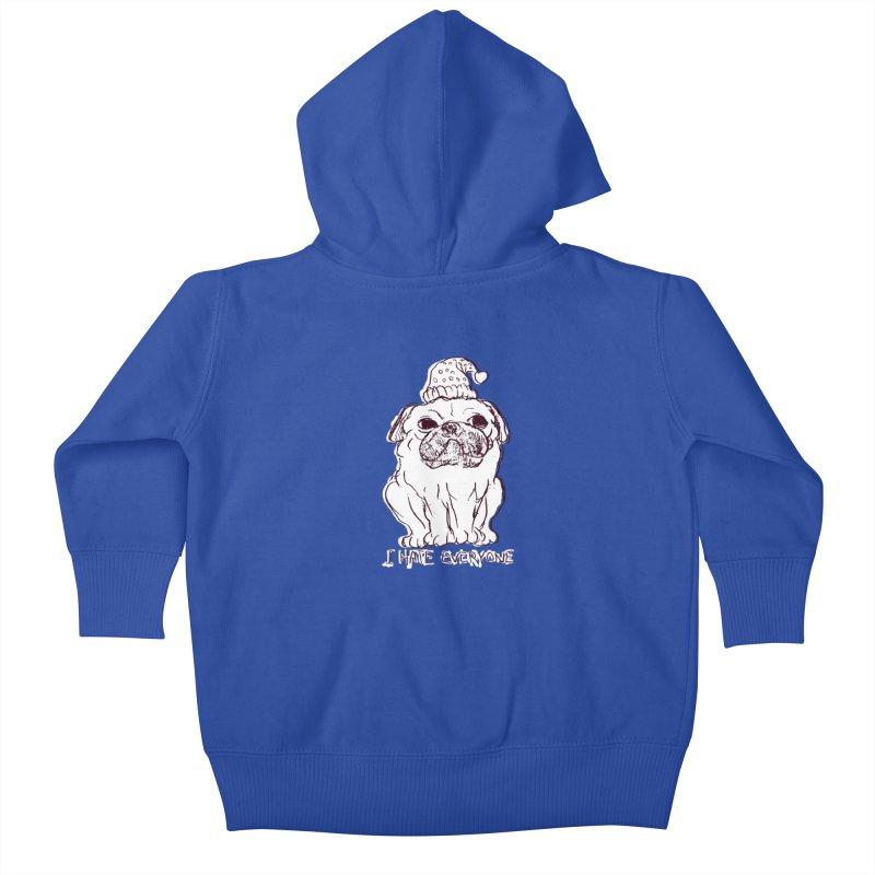 Happy Pug Kids Baby Zip-Up Hoody by alexcortez's Artist Shop