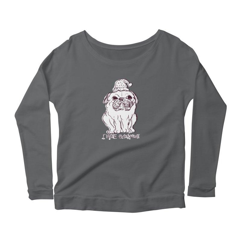 Happy Pug Women's Longsleeve Scoopneck  by alexcortez's Artist Shop