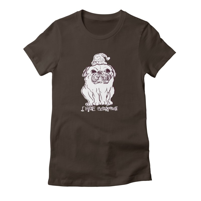Happy Pug Women's Fitted T-Shirt by alexcortez's Artist Shop
