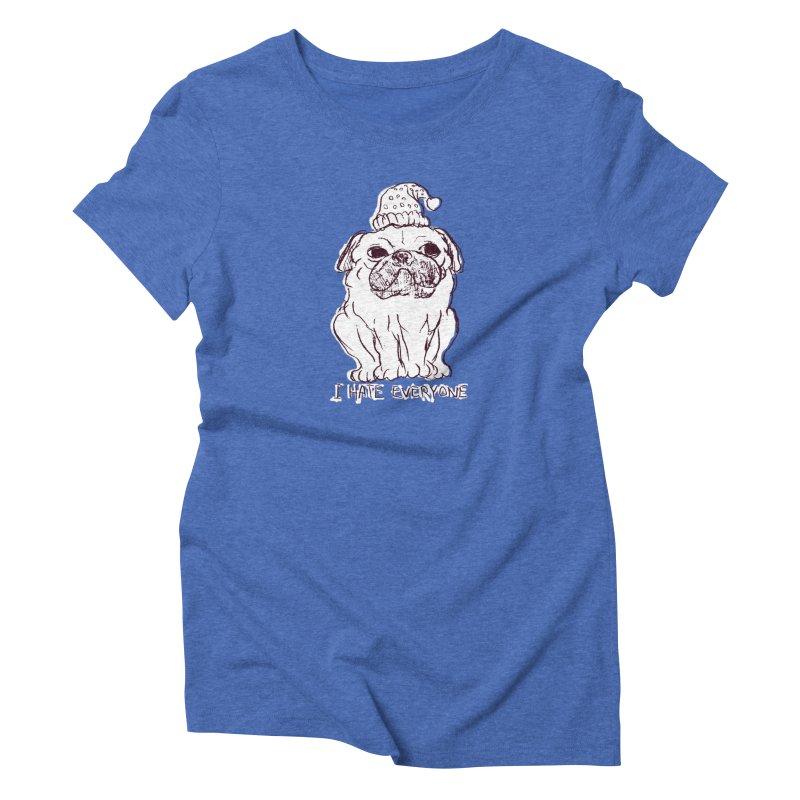 Happy Pug Women's Triblend T-Shirt by alexcortez's Artist Shop