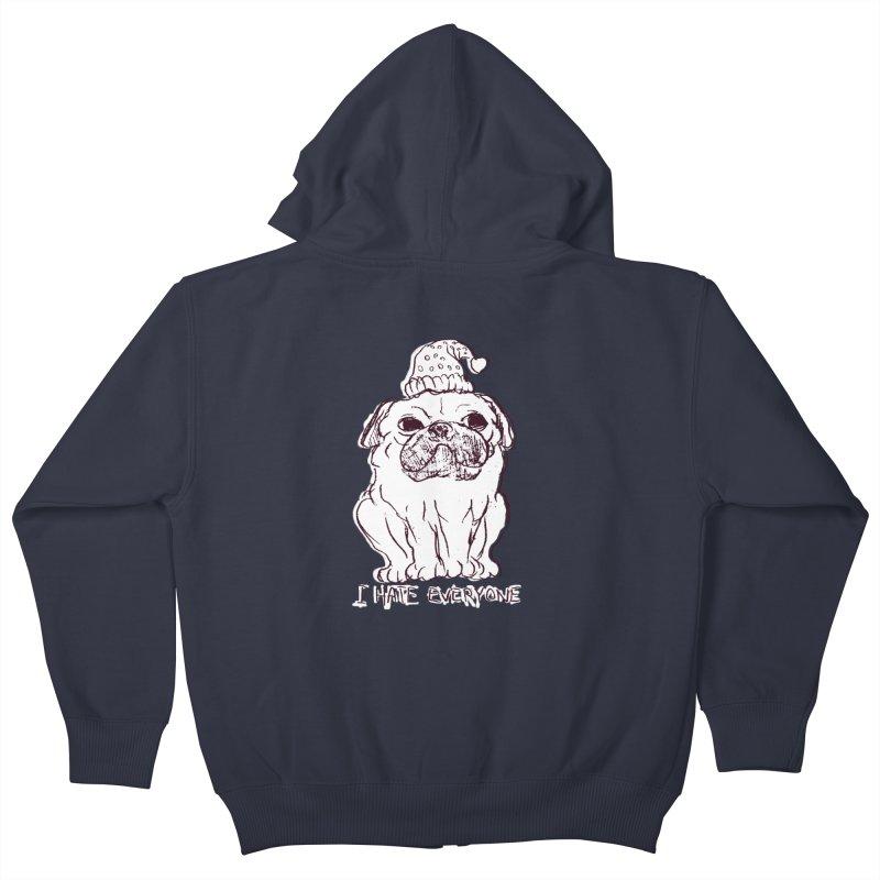 Happy Pug Kids Zip-Up Hoody by alexcortez's Artist Shop