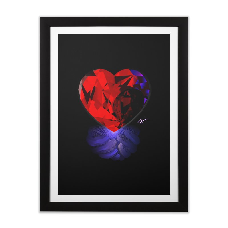 Crystal Heart in Framed Fine Art Print Black by Alexiii's Art and Geometry