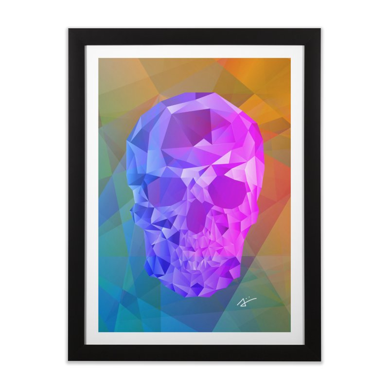 Crystal Skull in Framed Fine Art Print Black by Alexiii's Art and Geometry
