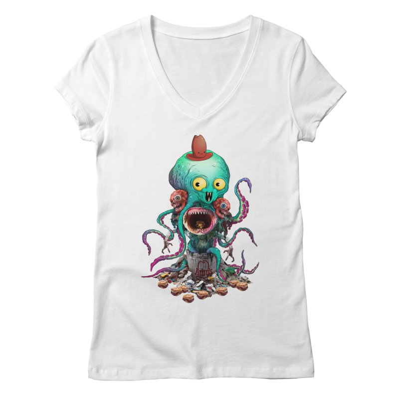 BARTLBY & BEETH (WHITE) Women's V-Neck by Alex Pardee's BRIGHTMARES