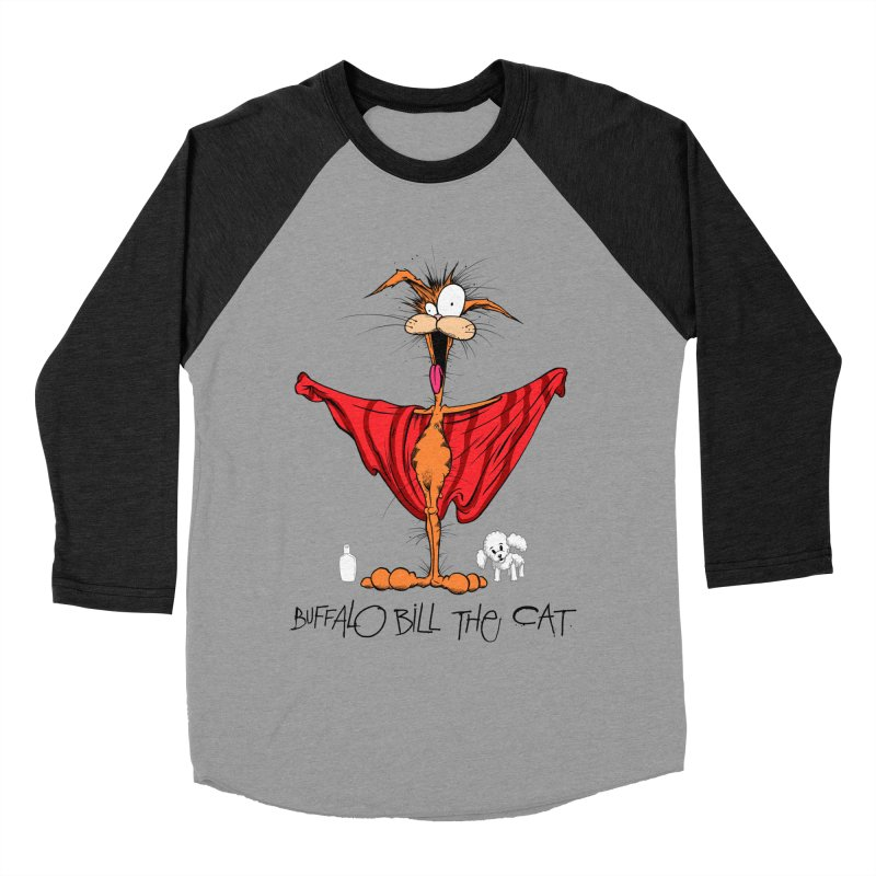 BUFFALO BILL THE CAT Men's Baseball Triblend Longsleeve T-Shirt by Alex Pardee's Land Of Confusion