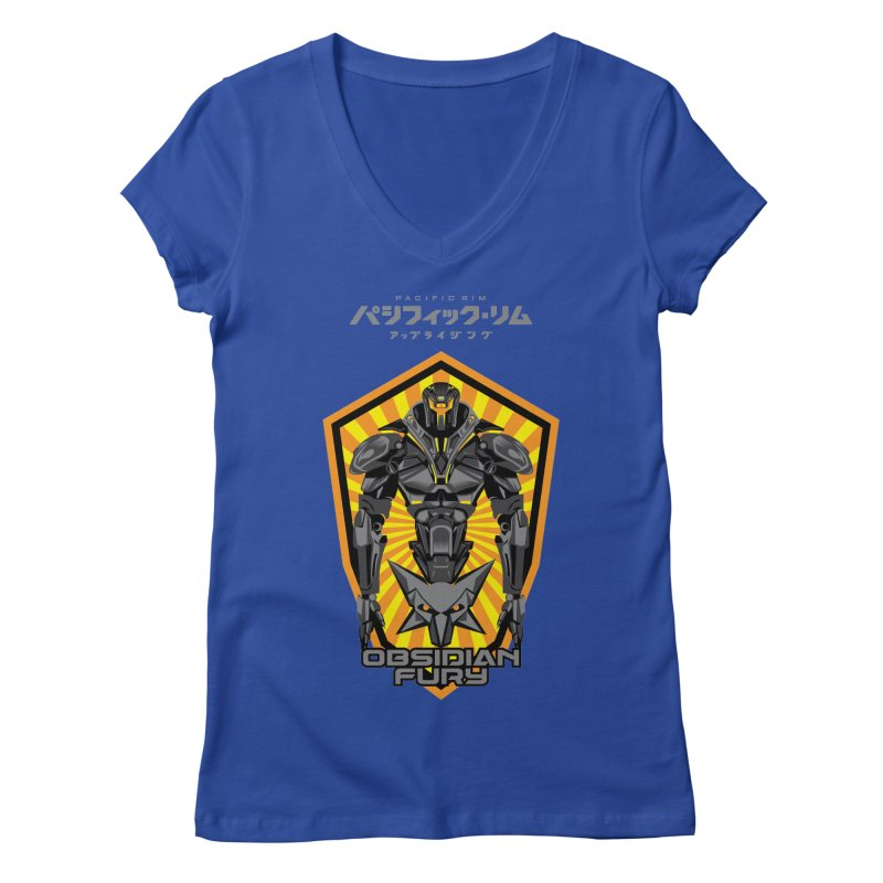 PACIFIC RIM : OBSIDIAN FURY JAEGER Women's V-Neck by ALGS's Artist Shop