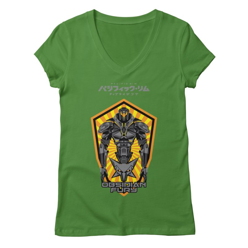 PACIFIC RIM : OBSIDIAN FURY JAEGER Women's Regular V-Neck by ALGS's Artist Shop