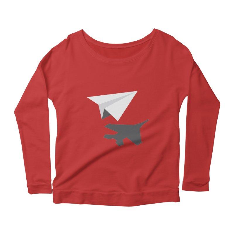 PAPERPLANE FIGHTER Women's Scoop Neck Longsleeve T-Shirt by ALGS's Artist Shop