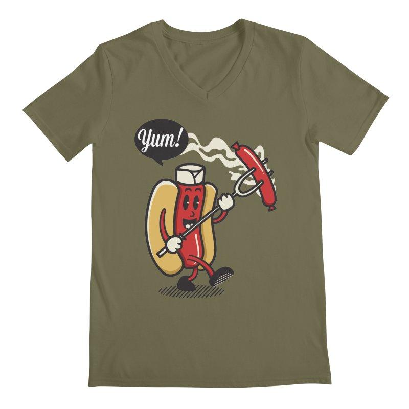 Hot Sausage! Men's Regular V-Neck by ALGS's Artist Shop