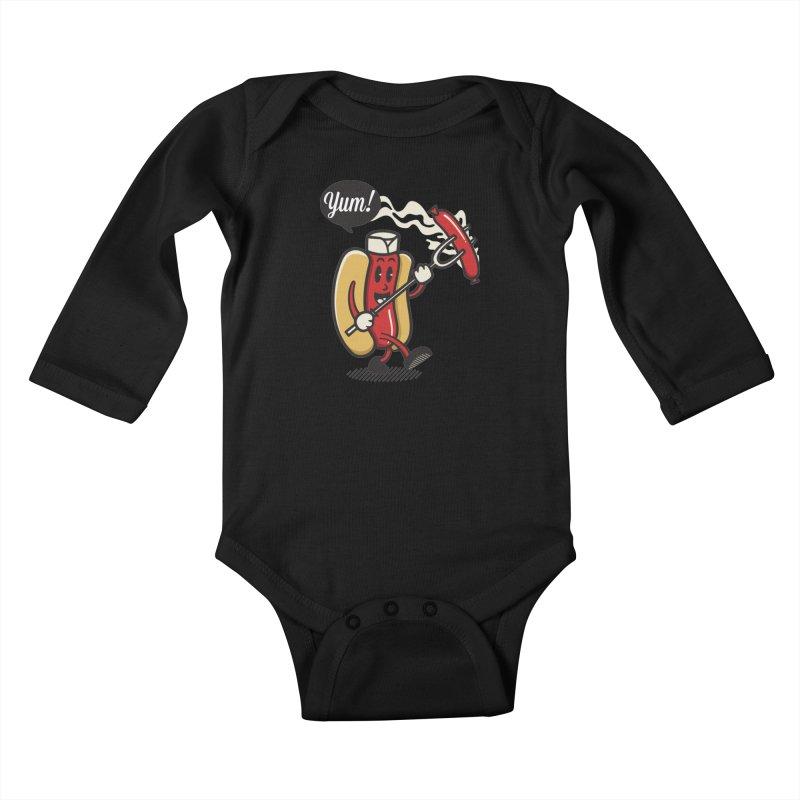 Hot Sausage! Kids Baby Longsleeve Bodysuit by ALGS's Artist Shop