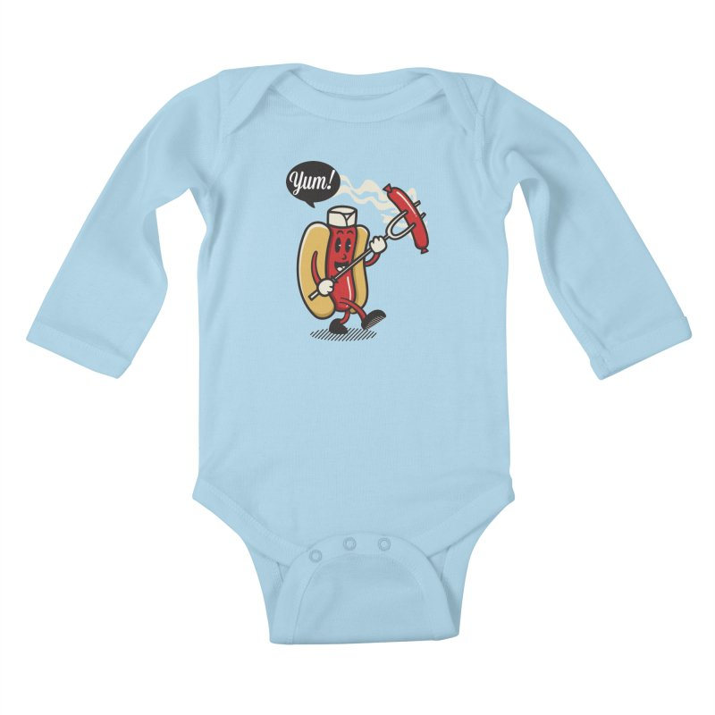 Hot Sausage! Kids Baby Longsleeve Bodysuit by ALGS's Artist Shop