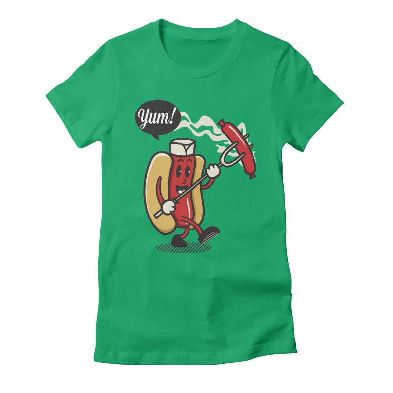 Hot Sausage! Women's Fitted T-Shirt by ALGS's Artist Shop